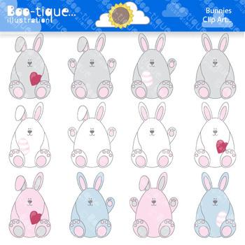 Clipart- Easter Bunnies Digital Clip Art. Easter Eggs Bunnies Clipart. Easter