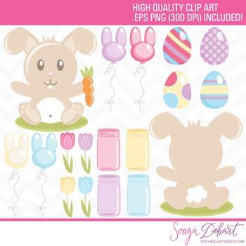 Clip Art: Easter Bunny Tulips Mason Jars Balloons Eggs Set