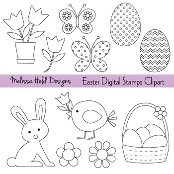 Clipart: Easter Color Your Own Clipart