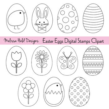 Easter Eggs Digital Stamps Clipart