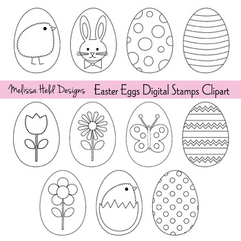 Clipart: Easter Eggs Color Your Own Clipart
