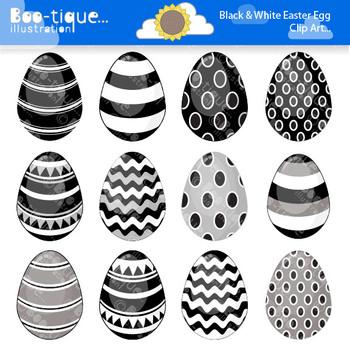 Clipart- Easter Eggs Digital Clip Art. Black and White Easter Eggs Clipart.