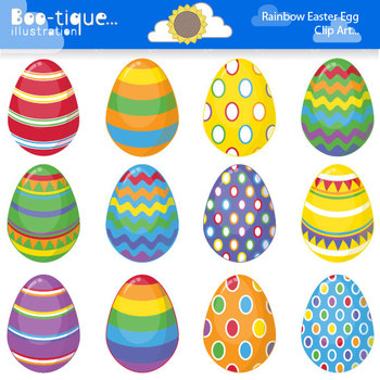 Clipart- Easter Eggs Digital Clip Art. Bright Easter Eggs Clipart.