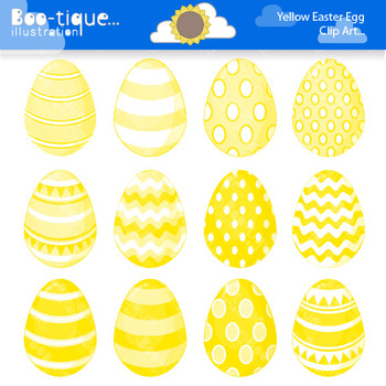Clipart- Easter Eggs Digital Clip Art. Yellow Easter Eggs Clipart.
