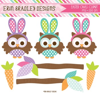 Clipart - Easter Owls and Carrots Digital Holiday Graphics