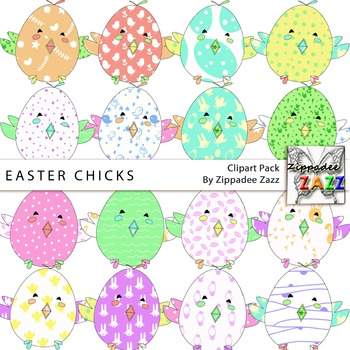 Clipart - Easter / Spring Patchwork Chicks - 16 PNG transparent images