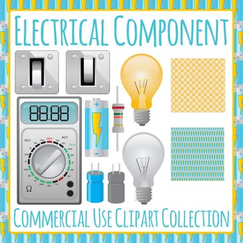 Electricity - Light bulbs, Capacitors, Voltmeters Commercial Use Clip Art