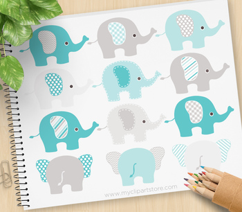 Clipart - Elephants (Blue and Grey)
