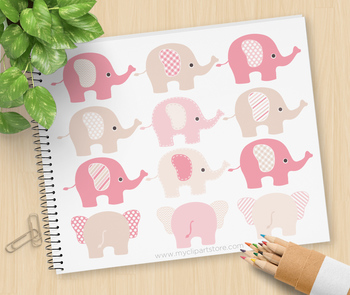 Clipart - Elephants (Pink and Brown)
