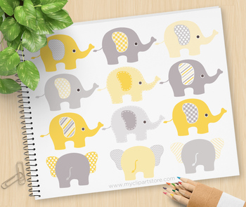 Clipart - Elephants (Yellow and Grey)