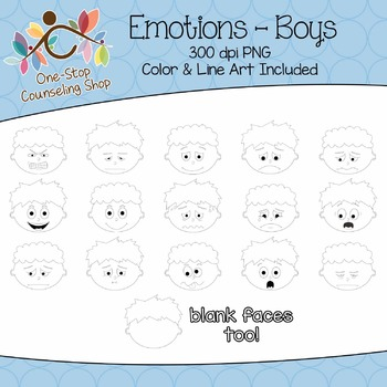 Clipart: Emotions - Boys