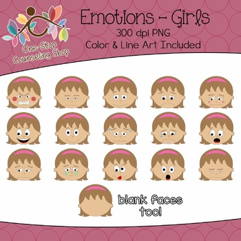 Clipart: Emotions - Girls