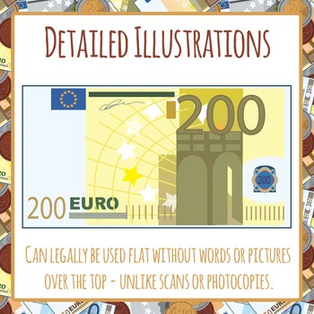 Euro Money Coins and Banknotes Clipart Pack for Commercial Use