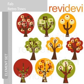 Clipart Fab Retro Trees E052 (red, green, yellow, brown) clip art
