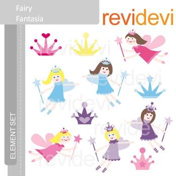 Clipart Fairy Fantasia E006 (flying fairies clip art) pink, purple, blue