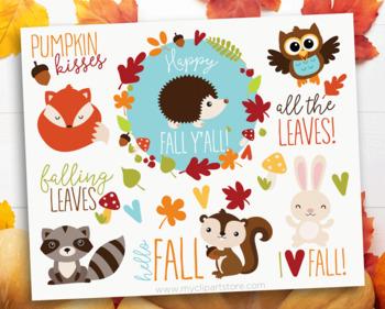 Clipart - Fall Animals, Autumn, Thanksgiving, floral wreaths