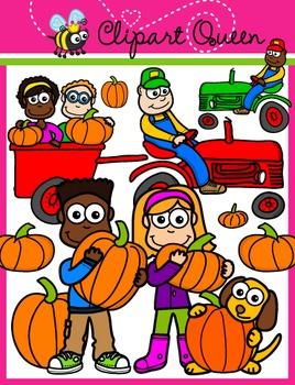 Clipart: Fall / Autumn Kids - Pumpkin Picking
