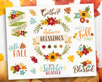 Clipart - Fall Flowers, Autumn, Thanksgiving, Farmhouse