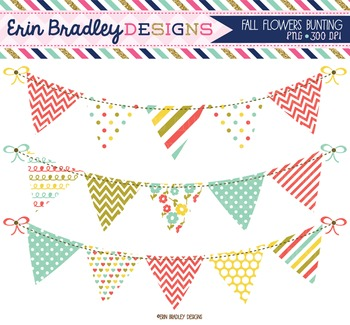 Clipart - Fall Flowers Bunting