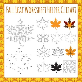 Fall Leaf Worksheet Helper Clip Art Set for Commercial Use