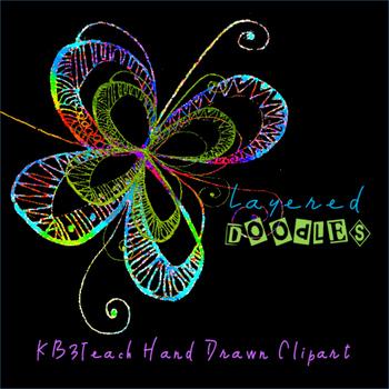 Clipart: Fancy Flower Doodle Designs