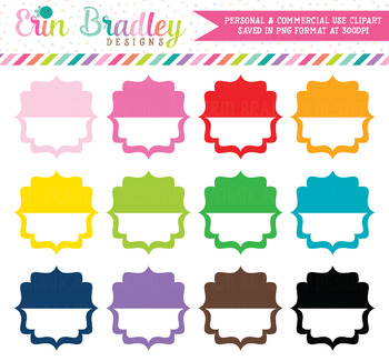 Clipart - Fancy Half Tag Boxes