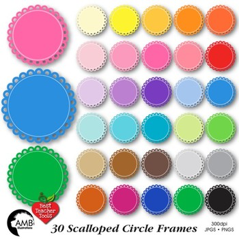 Clipart, Fancy scalloped frames, round labels, commercial use, AMB-1140