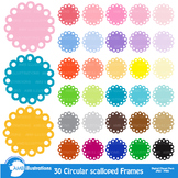 Clipart, Fancy scalloped frames, round labels, commercial use, AMB-1141