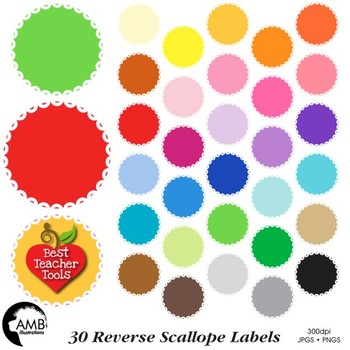 Clipart, Reversed scalloped frames, round labels, commerci
