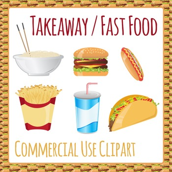 Clipart: Fast Food Takeaway Take Out Junk Food Clip Art Pack - Commercial Use