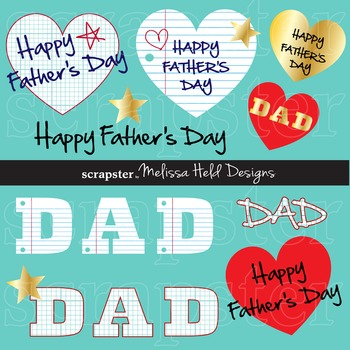 Clipart: Father's Day Clip Art with Graph and Loose Leaf Paper Backgrounds