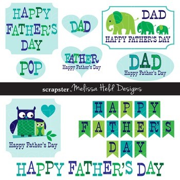 Clipart: Father's Day Clip Art with Owls and Elephants