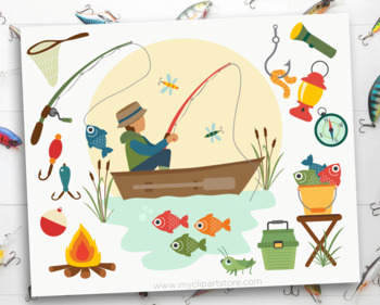 Clipart - Father's Day / Fishing Boat / Camping