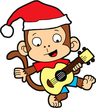 Clipart File with 7 images of Christmas Monkeys