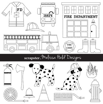 Clipart: Fire Department Black and White Clip Art