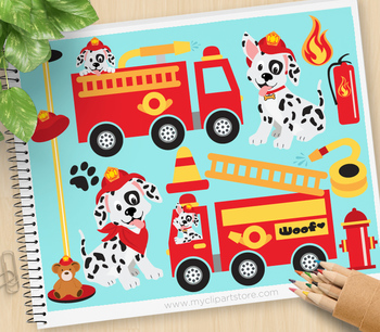 Clipart - Transportation - Fire Trucks / Fire and Rescue / Dalmatian Pup