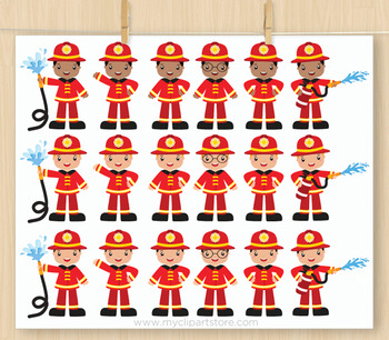 Clipart - Fire and Rescue Crew (multiracial) / Career / Occupation