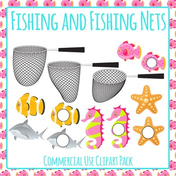 Fishing Nets and Fish Clip Art Pack for Commercial Use