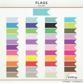 Clipart Flags - Grid Design  - 45 pieces