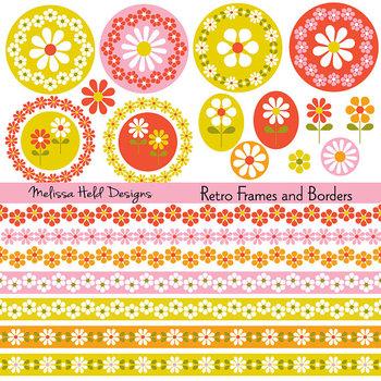 Retro Floral Digital Frames & Borders Clipart