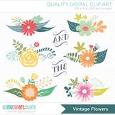 Clipart - Floral Clusters / Spring Flowers (vintage)
