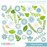 Clipart - Flower Collection (Pale Blue) / Floral / thinking of you