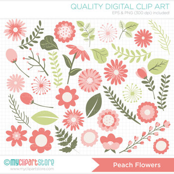 Clipart - Flower Collection (Peach) / floral / Wedding