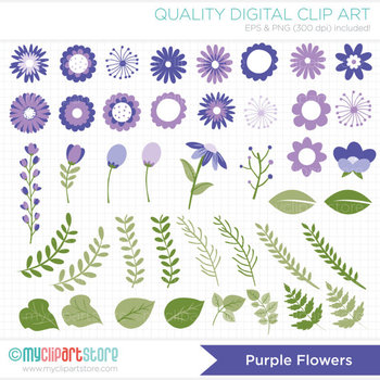 Clipart - Flower Collection (Purple / Lavender) Get well / Sympathy