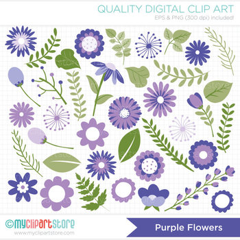 Clipart - Flower Collection (Purple / Lavender) Get well /