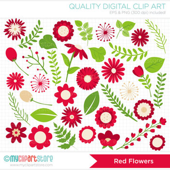 Clipart - Flower Collection (Red) / Floral / Valentine's Day