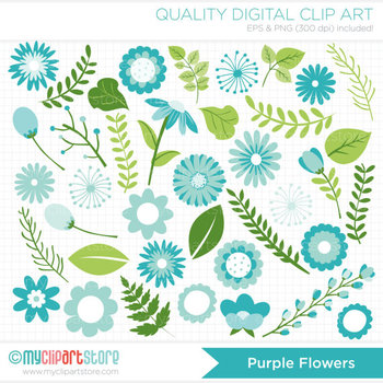 Clipart - Flower Collection (Teal / Aqua / Turquoise Blue) / Floral / New baby