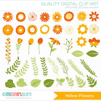 Clipart - Autumn / Fall Flower Collection (Yellow Orange) / floral