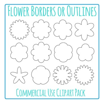 Flower Outlines / Borders Clip Art Pack for Commercial Use