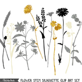Clipart - Flower Stem Silhouettes